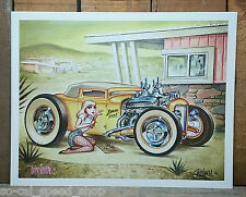 SIGNED KEITH WEESNER POSTER PRINT 1930 FORD HOT ROD MODEL A SPORT COUPE 31 PINUP