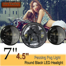 "Black 7"" Projector Daymaker Headlight 4.5"" LED Passing Light For Harley Touring"