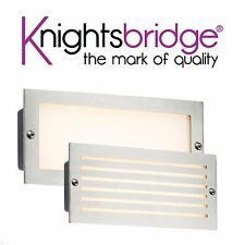 Knightsbridge LED Bricklight Outdoor Brick Light White Brushed Steel Low Energy