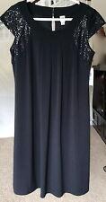 $66 SANGRIA deep Black Matte Jersey  Party Cocktail Dress 8 new 7 njy