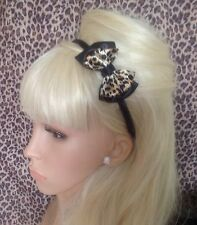 "New SATIN ANIMAL PRINT ALICE HAIR HEAD BAND 3"" DOUBLE BOW VINTAGE STYLE GLAMOUR"