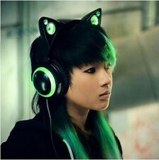 Wired Cat Ear Headphones Top Quality Speakers Green Color Fashionable