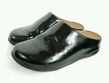 Womens FITFLOP SHUV Black Patent Leather Clogs Shoes sz 6 SK62