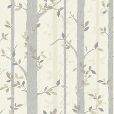 Modern Tree Branch Leaf Wallpaper Neutral Sale Free Delivery