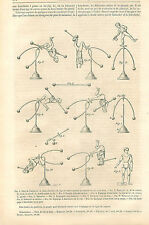 Toy Circus Jouet Équilibriste equilibrist Balance wheel GRAVURE OLD PRINT 1864