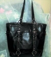 Coach Black Leather Silver Tone hardware Ring Shoulder Straps Tote Bag