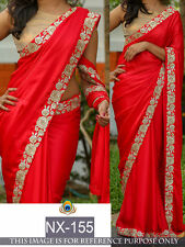 Bollywood Designer Party Wear Red color Georgette Fabric  Saree