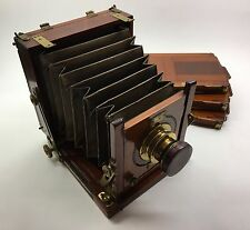 ANTIQUE HALF-PLATE WOOD BOX CAMERA & 'WRAY OF LONDON' 5x4.5 1/2 in. LENS c.1890s