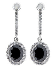 CLIP ON EARRINGS - silver plated drop earring crystals & black stone - Meryl B