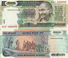 INDIA 500 RS Withdrawn No Date No Inset with pinhole Paper Money Note UNC NEW