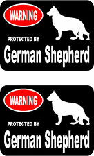 2 protected by German Shepherd dog home car bumper window vinyl decals stickers