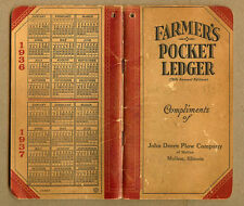 1936-37 JOHN DEERE Plow Company, Moline, Illinois IL, JD Farmers Pocket Ledger