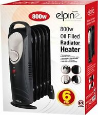6 FIN 800W PORTABLE ELECTRIC OIL FILLED RADIATOR ELECTRICAL CARAVAN HEATER BLACK