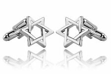 High Quality Star Of David Cufflinks silver Colour Cuff links tie clip