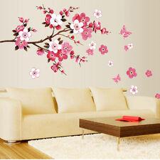DIY Peach Blossom Flower Butterfly Wall Stickers Art Decal Home Room Decor Vinyl