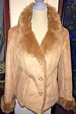 COLDWATER CREEK FAUX SUEDE & FULL FAUX FUR LINED JACKET, BROWN, SIZE SMALL