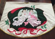 Vintage House of Hatten Peace On Earth Angel Beaded Christmas Tree Skirt 58""