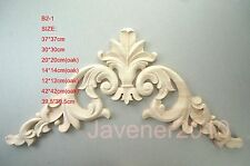 12*12cm Wood Oak Carved Corner Onlay Applique Furniture Unpainted B2-1 QTY.1