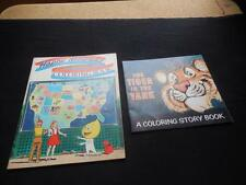 Pair Vintage 1960s Esso Advertising Coloring Books Tiger Tank Happy Motoring