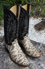 Exotic Justin Natural Ring Ringed Lizard Cowboy Boots size 9D MADE IN USA