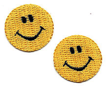 SUN - SMILEY FACE (2 Pieces) /Iron On Embroidered Applique Patch/Miniatures