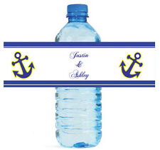 100 Anchor Nautical Theme Wedding Water Bottle Labels Personalized Bridal Party