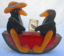 "Crows on Watermelon Seesaw Handmade Wood Watermelon Seeds Sign 6.5"" x 7"" x 2"""
