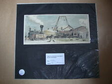 Genuine Hand Coloured Antique Print of Steam Threshing. by Anon
