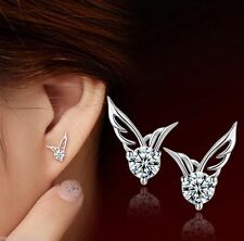Crystal 925 Sterling Angel Wings Butterfly Silver Ladies Girls Pierced  Earrings