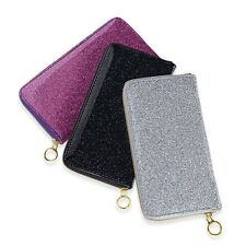SILVER METALLIC GLITTERY WALLET ZIP AROUND CREDIT CARDS COIN ZIP New SEE PICS!!!