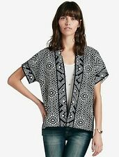 Lucky Brand - $99 - S - Navy Blue Geometric Short Sleeve Kimono Cardigan Sweater