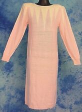 JOHN RiCHARD SEXY 80s VtG NEW WAVE KNiT PiNK WHiTE ANGORA BoHo SWEATER DRESS M/L