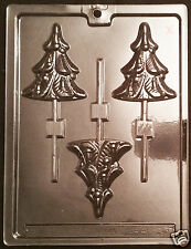 Traditional Christmas Tree Lollipop Chocolate Plastic Candy Soap Mold LOP C-97