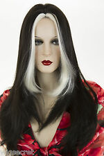 Ash Black Streak White Blonde Blonde Long Skin Top Straight Wigs