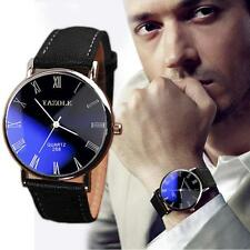 Luxury Faux Leather Mens Quartz Analog Watch Watches Black WHOLESALE Free Ship