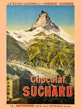 Chocolat Suchard Matterhorn Switzerland Vintage Travel Advertisement Art Poster