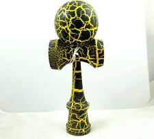 Beautiful Black on yellow Kendama All-Over Crackle Pattern matt paint P_5
