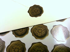 Tudor Rose wax seal effect stickers x60 weddings cards invitation - Golden 05-09
