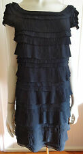 French Connection gorgeous black pleated tiered 1920s-look dress size 12 (US 8)