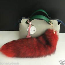 "Red /Black 16"" Large Genuine Real Fox Tail car Key chain Bag Charm Tassle tag"