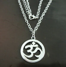 Un tono argento Om Ohm Aum Yoga Hindi omkara simbolo Charm 29x25mm COLLANA CATENA