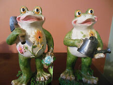2 New Frog Figures_Garden Decorations_Statues_9x5_Lawn Ornament