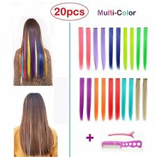 Hawkko 20PCS Straight Colored Clip in Hair Extensions Party Highlight Multiple &