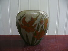 Vintage Hand Painted Tiger Lily Oval Brass Vase Penco Industries India