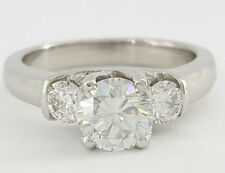 1.20 ct Platinum Three Stone Round Brilliant Cut Diamond Engagement Ring EGL-USA