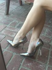 *siLveR PaTenT* SZ 10 Mirrored Pointy Toe CARRIE Stiletto Heels PUMPs GuESS