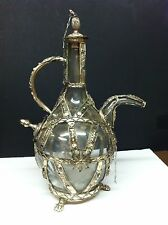 VINTAGE HANDMADE SILVER AND GLASS WINE DECANTER