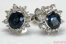 Victorian Natural 2CT Oval Blue Sapphire & Diamond Earrings Solid 18K White Gold