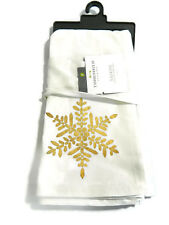 Threshold Napkin White Snowflakes Gold Cotton Set 4 Table New