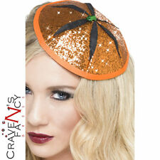 Pumpkin Fascinator Orange Glitter Mini Hat Halloween Fancy Dress Ladies New